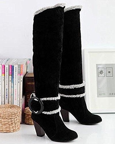 Minetom Donna Autunno Inverno Ginocchio Stivali Tacco Alto Fibbia Boots Tacco Chunky Biker Stivali Nero