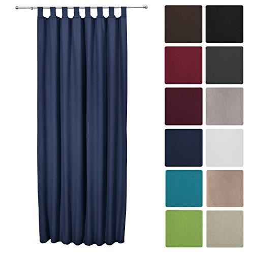 Beautissu tenda termica con passanti serie amelie - 140x245 cm blu - tenda isolante e anti-sguardi indiscreti