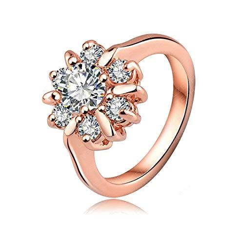 Anyeda Rose Vergoldet Ring Ringe Set Damen Runden Ring Rose Gold Silberringe Größe 53 Ringgröße 50 (15.9)