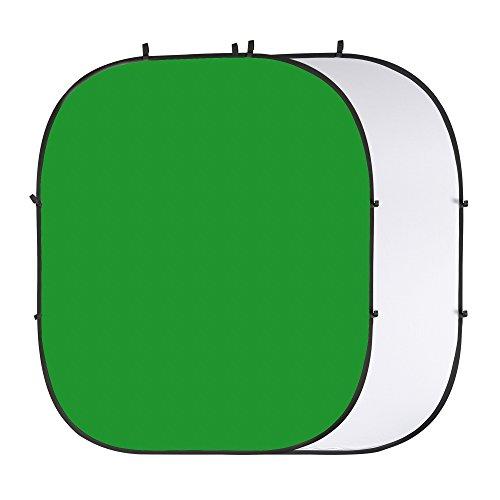 PhotoSEL BD123WG fondale pieghevole reversibile, 2x 2,4m, colore bianco/verde chroma Key
