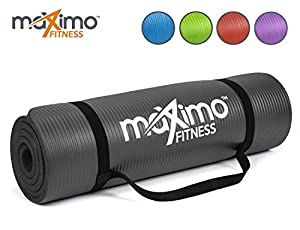 Maximo Fitness Exercise Mat - Premium Quality NBR Gym Mat - 12mm Extra Thick, Multi Purpose - Perfect for Yoga, Pilates, Sit-Ups and Stretching - Lifetime Warranty. (Black)