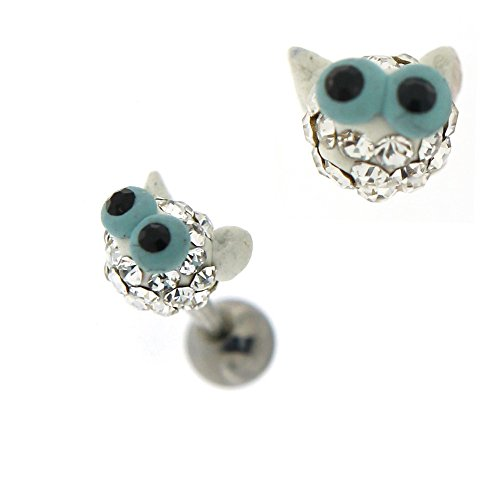 Colorful Crystal Multi pierres belle Big Eye Cat Face Tragus Cartilage Helix Piercing bijoux Claire
