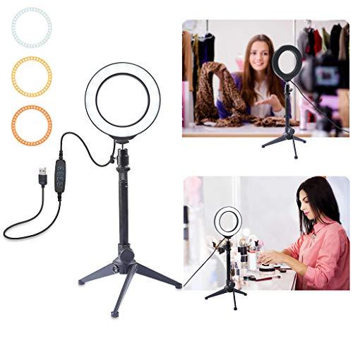 Jamicy® 8,2 Zoll Außendurchmesser Dimmbares Lichtring mit Stativ und USB-Stecker, 3-Farbe Ringlicht mit Tischfuß, LED Ring Videofotografie mit Filter für Make up, YouTube Vlogger Video Aufnahmen -