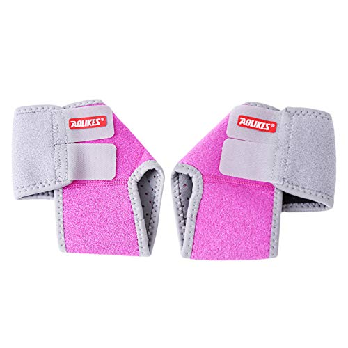 Bigsweety Rose Rot Mädchen JungenVerstellbare Kompressions Knöchelbandage Unterstützung Atmungsaktiv für Laufen Radfahren Eislauf Tanz (S)