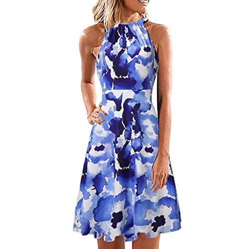 WooCo Damen Sommerkleider- Frauen Mädchen V-Ausschnitt Kleider - Ärmellos Boho Rüschen Swing Neckholder Kleid - Strandkleider Blumenkleider Tupfenkleider - 2019 Sommer Sale(E-Blau,S)