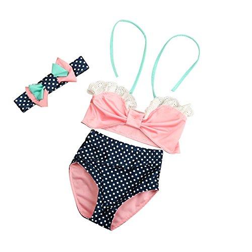 Baby Bikini VENMO@Baby Mädchen Schriftsatz Stirnband 3PCS gesetztes Badeanzug Badebekleidungs Bikini Klage (Size:2T, (Kostüme 2t)
