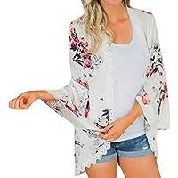 JURTEE Damen Herbst Kittel Chiffon Blume Drucken Spitze Mantel Tops Passen Kimono Abdeckung Mode Kittel Oberteile
