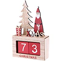 BESTOYARD Würfel Tischkalender Holz Countdown Adventskalender Weihnachtsdeko Vintage Würfelkalender (Pattern A)