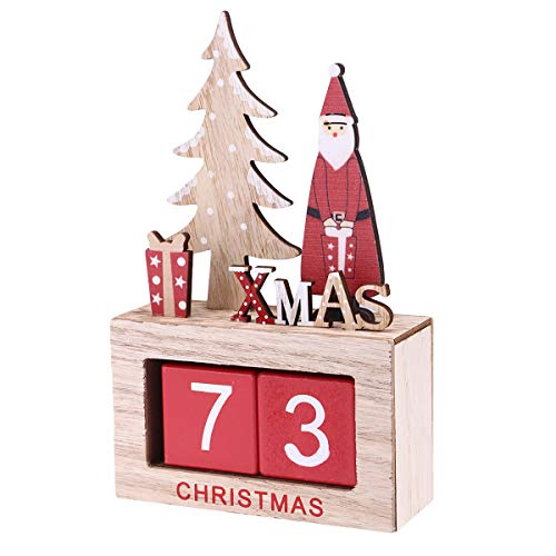 Amosfun Mignon Elk Décoré De Bureau en Bois Bloc Perpétuel Calendrier Bureau Accessoire Chic Nombre pour Le Bureau À La Maison Cadeau De Noël Décoration Cadeau De Noël pour Amis