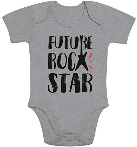 Baby Musik Geschenk Future Rock Star Baby Body Kurzarm-Body 74/80 (6-12M) Grau