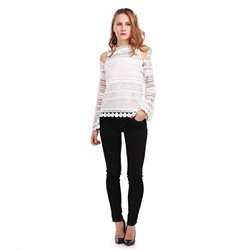 La Modeuse - Top ajouré épaules dénudées Blanc