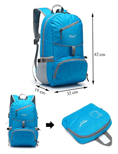 Showtime faltbarer Rucksack Wanderrucksack Daypack für Kinder Herren Frauen, 25 liter Blau