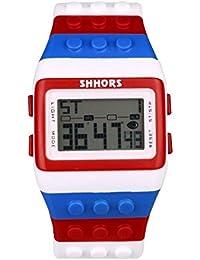 Reloj de pulsera de multifuncion de color - SHHORS Reloj de pulsera de nino LED impermeable de multifuncion de arco iris Reloj de deportes de natacion Reloj de pulsera digital (Estilo 14)