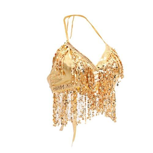 Indischen Kostüm Tanz Klassischen - Homyl Bauchtanz BH Neckholder Design Mit blinker Perlenschnur und Quasten 5 Farbe - Gold