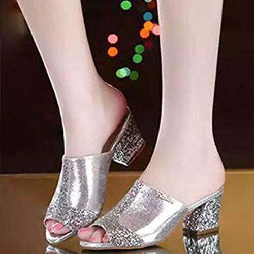 1dadfe799e22 Sunnywill Pantofole,Donne Strass Pantofole Scarpe Open Toe Stile bohemie  con Tacco Alto Estivi Sandali Donna Eleganti Donna Strass Scarpe Ciabatte  Pantofole ...