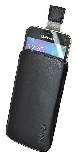 Samsung Galaxy S5 mini (SM-G800F) / Original Suncase Tasche Leder Etui Handytasche Ledertasche Schutzhülle Case Hülle *mit Rückzuglasche* / schwarz