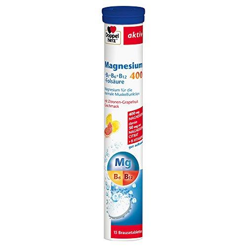 Doppelherz Magnesium 400 Brausetabletten + B1 + B6 + B12 + Folsäure – Magnesium zur Unterstützung der normalen Muskelfunktion – 1 x 15 Brausetabletten