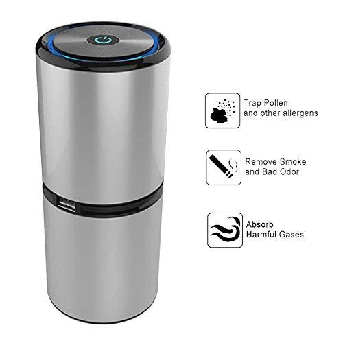 MOGOI Auto-Luftreiniger, negativer Ionen-Generator mit Dual-USB-Port, Luftreiniger für Autos und kleine Raumfilter für Allergien und Haustiere, Rauch, Schimmel, Keime und Staub Silber
