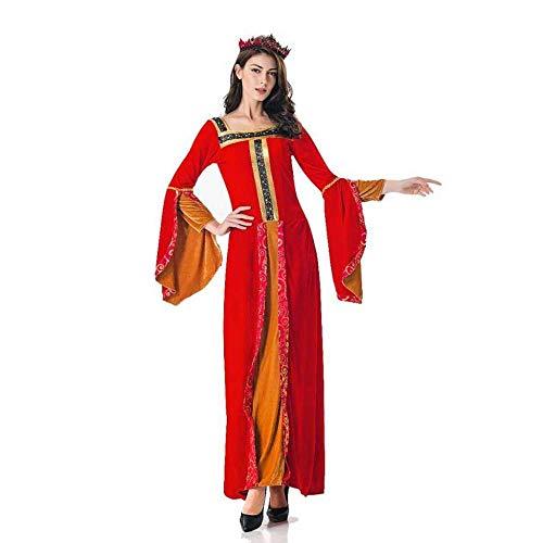 KAIDILA Kostüme Halloween Kostüm Erwachsene Cosplay Retro Gericht maxikleid großen roten Königin Queen Maxi Kleid Bühne