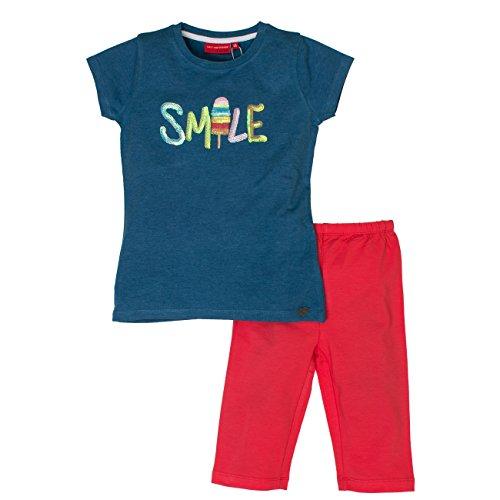 SALT AND PEPPER Mädchen Bekleidungsset Set Smile Pailetten, Mehrfarbig (Jeans Blue Melange Hibiscus 471-335), 104 (Herstellergröße: 104/110) (Set Capri Kinder)