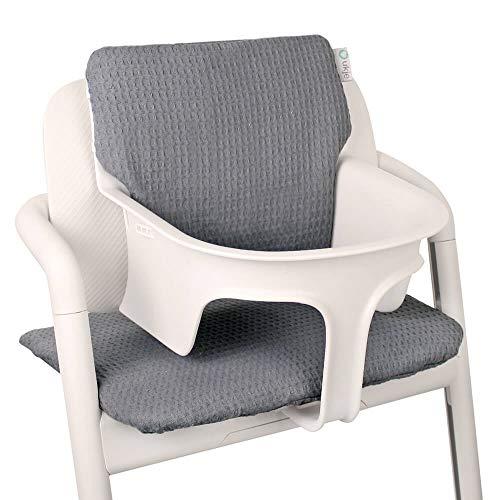 Baby Sitzkissen Sitzverkleinerer für Cybex Lemo Hochstuhl von UKJE Grau Waffelpique Praktisch und dick gepolstert Maschinenwaschbar 2-teilig Öko-Tex Baumwolle Recycelbar