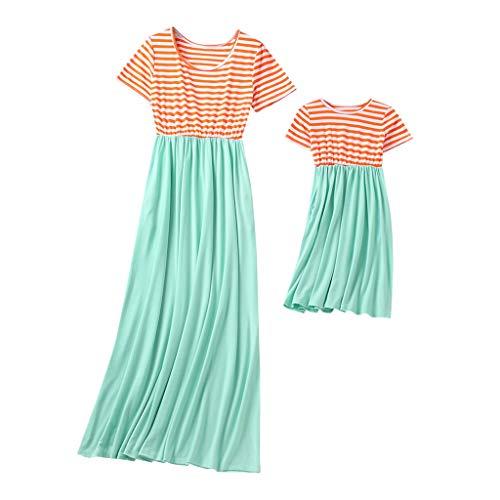 Cooljun Mutter und Tochter passende Kleidung Mama, ich Kind Mädchen Kurzarm Oansatz Spleißen Rock Familie Kleidung Kleid (Passende Shirts Für Mädchen)