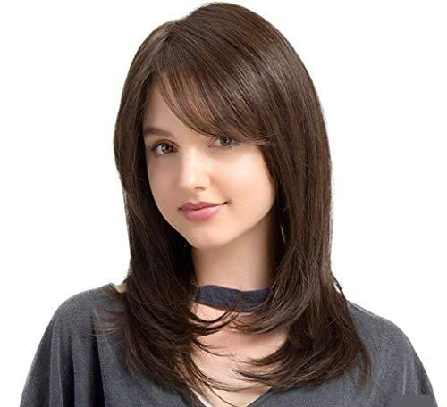 YIZHANGEurop?ische und amerikanische Perücke weibliche Mode halb lange Haare schr?gen Pony Locken Perücke -