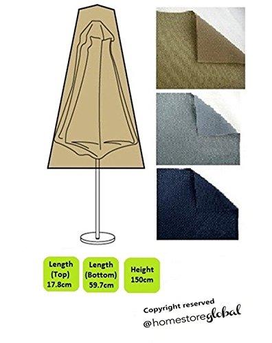 Homestore global copertura ultra robusta per ombrelloni - spesso e resistente di alta qualità 600d poliestere tela con cuciture doppie cuciture per resistenza supplementare, dimensioni: alto 17,8, inferiore 59,7 x 150 centimetri alto, marrone