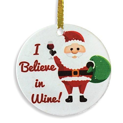 Banberry Designs I Believe In Wein Weihnachten Ornament-Santa und Ein Glas Wein-Doppelseitig Bedruckter Keramik Schmuck-Wein Geschenke