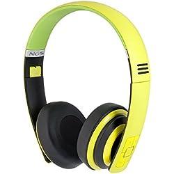 NGS Artica Premium - Auriculares de diadema cerrados con Bluetooth, color negro y amarillo