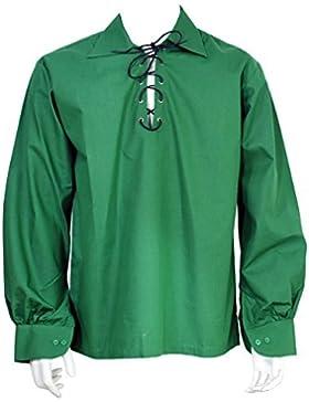 Scozzese Verde Scuro Giacobita Ghillie Kilt Maglietta Cavo Di Cuoio