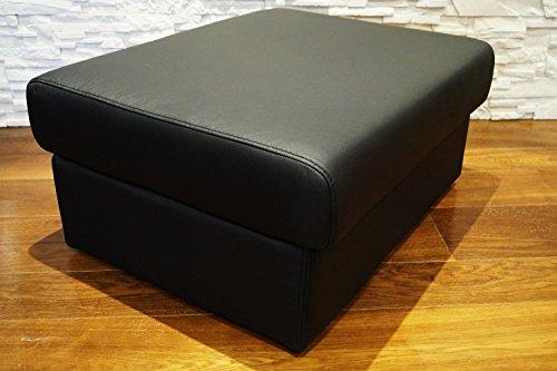 Schwarz Echtleder Hocker aufklappbar mit Stauraum Sitzhocker Rindsleder Sitzwürfel 75x55 Fußhocker Polsterhocker Echt Leder Puff Leder-puff