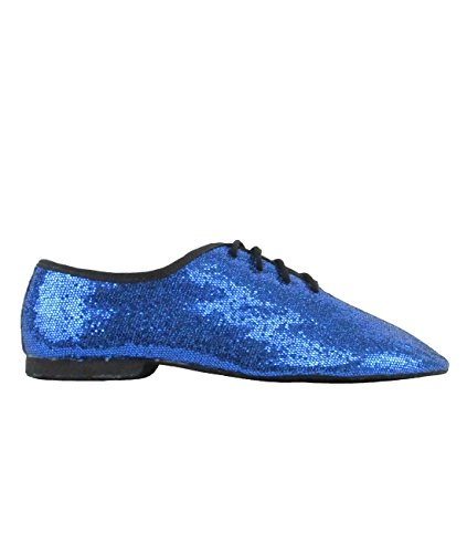 Assim Danca Sapatos De Jazz Gloss Têxtil, Sapatos De Dança Salsa Rumba Tango Latino Jz79 Camurça Único Azul Inteira