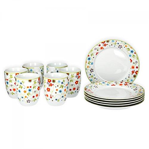 Van Well Frühstücksset 12-tlg. für 6 Personen Serie Vario Porzellan - Farbe wählbar, Farbe:flowers
