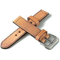 RSTORE Leather 20mm Watch Band Strap Fabric Stainless Vintage Buckle
