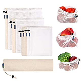 9pcs Reusable Mesh Produce Bags & Natural Organic Cotton Muslin Bags Washable Fruit Vegetable Bags for Grocery Shopping and Home Storage Organisation