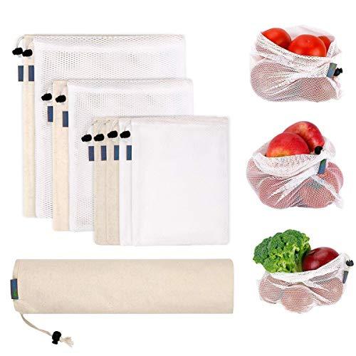 9er Set Obst&Gemüsebeutel,WU-MINGLU Einkaufstaschen wiederverwendbar Gemüsenetze robust Kartoffelsack Brotbeutel Baumwolle Einkaufsnetze Einkaufstasche Aufbewahrungsbeutel für Einkaufen und Haushalt
