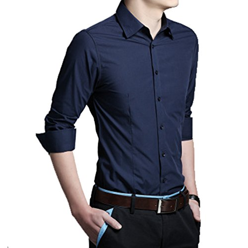 Laixing Qualità Handsome And Cool Men's Luxury Formal Casual Slim Fit Stylish Shirts DJ19 Navy blue