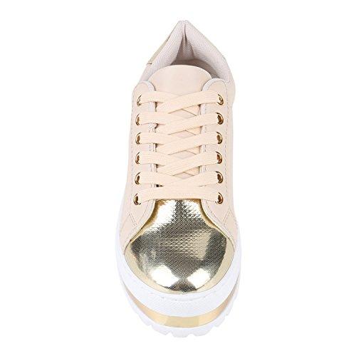 Damen Plateau Sneaker Lack Metallic Sneakers Schuhe Creme Gold