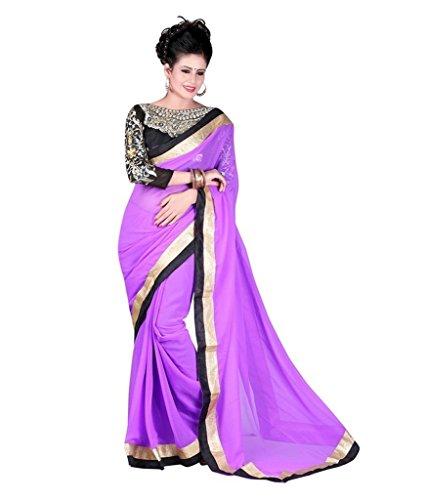 Kmozi's chiffon Purple colour Embroidey Designer saree