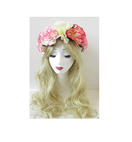 Grand Rose Crème Ivoire Rose Fleur Bandeau Guirlande vintage Festival Big P85 * * * * * * * * exclusivement vendu par – Beauté * * * * * * * *