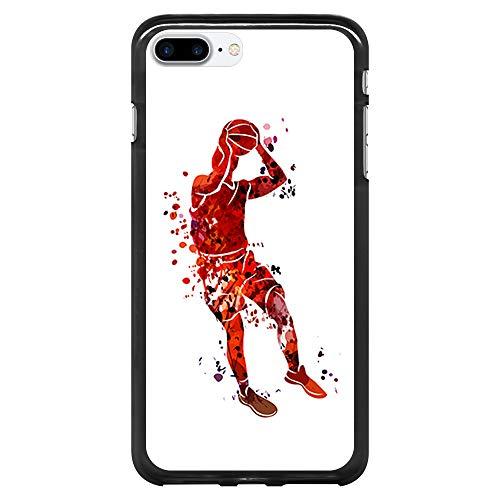 BJJ SHOP Schwarz Hülle für [ iPhone 7 Plus/iPhone 8 Plus ], Klar Flexible Silikonhülle, Design: Basketball-Spieler-Aquarell