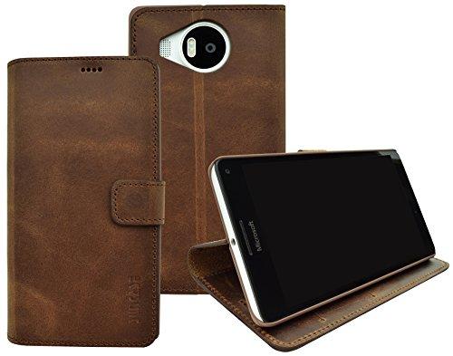 Suncase Book-Style (Slim-Fit) für Microsoft Lumia 950 XL Ledertasche Leder Tasche Handytasche Schutzhülle Case Hülle (mit Standfunktion und Kartenfach) antik coffee