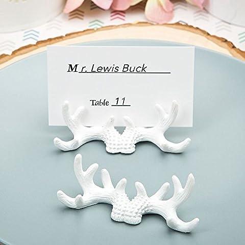 6 rustico in miniatura Antler Nome / Nota di nozze luogo titolari di Carte di favori da regalo - Bianco (2 pezzi) - Carta Regalo Della Santa Titolare