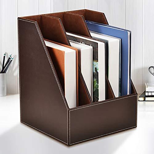 YXWA Ordnungsmappen Office-DREI-Ebenen-Desktop-Datei-Regal Multi-Layer-Datenrahmen Ordner Aufbewahrungsbox Sitzkorb Datei-Rack Dateikasten (Farbe : Brown)