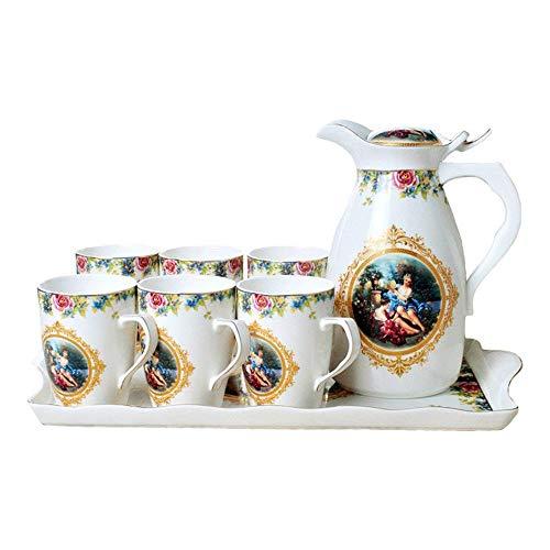 ufengke-ts Ölgemälde, Porzellan Kaffee-Set Tee-Geschenk, 8Stück