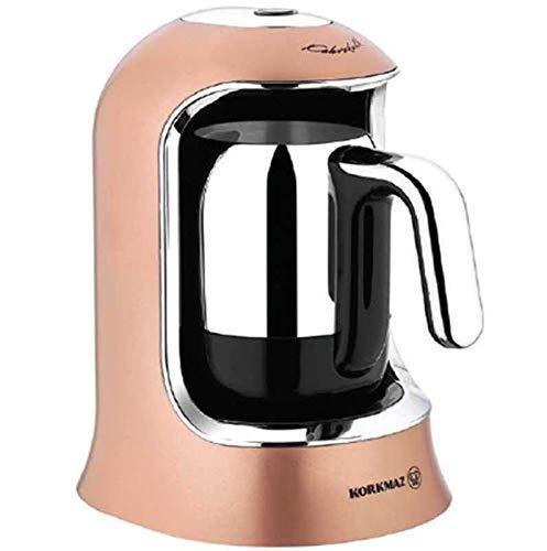 Korkmaz | Kaffeekolik | Elektrischer | Mokkakocher | Espressokocher | 400 Watt | 4 Tassen | Rosagold & Krom |