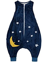 Strampelsack aus Plüschfleece  blau mit Sterne Schlafsack Pucksack