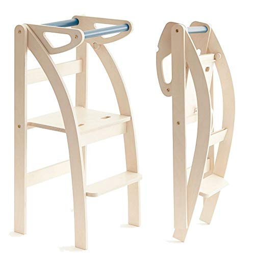 La Taue, ettomio. Learning tower o torretta montessoriana che si può ripiegare per riporla anche in spazi piccoli, oppure si può trasformare in uno sgabello o una sedia.