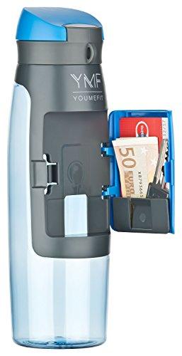 Wasserflasche Sport mit Fach für Geld, Schlüssel / Trinkflasche BPA frei - auslaufsicher / praktische Sportflasche für Training, Gym, Schule, Freizeit und Outdoor / Fitness Flasche – 750ml (blau)